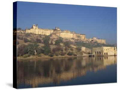 Amber Palace and Fort, Built in 1592, from Moata Sagar, Jaipur, Rajasthan State, India-Robert Harding-Stretched Canvas Print