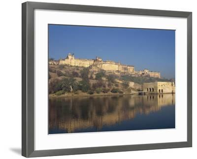 Amber Palace and Fort, Built in 1592, from Moata Sagar, Jaipur, Rajasthan State, India-Robert Harding-Framed Photographic Print
