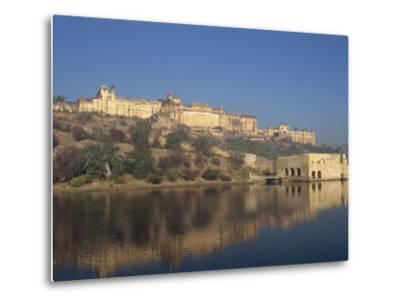 Amber Palace and Fort, Built in 1592, from Moata Sagar, Jaipur, Rajasthan State, India-Robert Harding-Metal Print