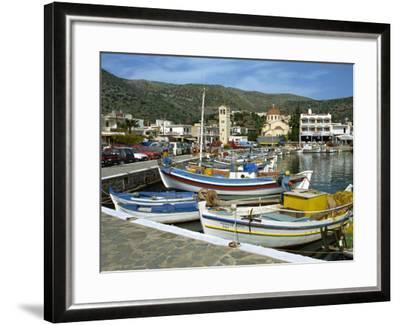 Fishing Boats Moored in the Harbour at Elounda, Near Agios Nikolas, Crete, Greece, Europe-Harding Robert-Framed Photographic Print