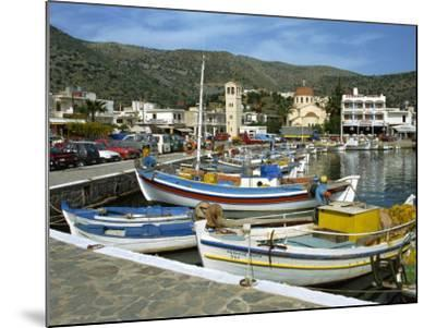 Fishing Boats Moored in the Harbour at Elounda, Near Agios Nikolas, Crete, Greece, Europe-Harding Robert-Mounted Photographic Print