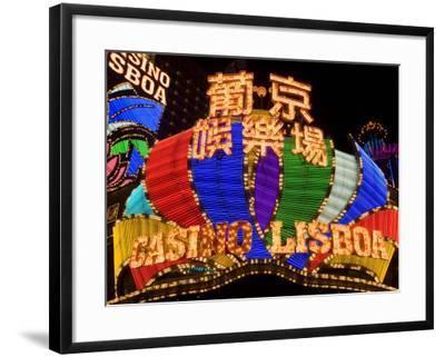 Lisboa Casino Neon Illuminated at Night, Macau, China-Gavin Hellier-Framed Photographic Print