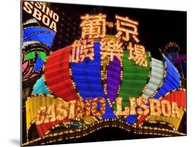 Lisboa Casino Neon Illuminated at Night, Macau, China-Gavin Hellier-Mounted Photographic Print
