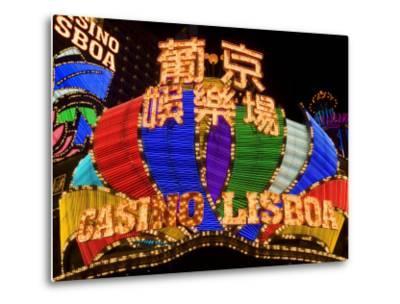 Lisboa Casino Neon Illuminated at Night, Macau, China-Gavin Hellier-Metal Print