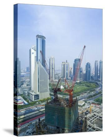 Skyscrapers and New Construction in the Lujiazui Financial District of Pudong, Shanghai, China-Gavin Hellier-Stretched Canvas Print