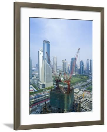 Skyscrapers and New Construction in the Lujiazui Financial District of Pudong, Shanghai, China-Gavin Hellier-Framed Photographic Print
