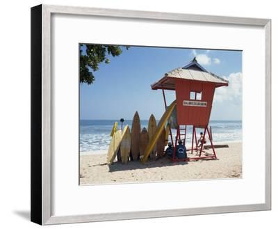 Surfboards Stacked Waiting for Hire at Kuta Beach on the Island of Bali, Indonesia, Southeast Asia-Harding Robert-Framed Photographic Print