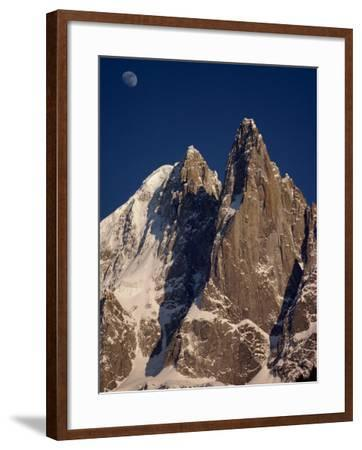 Jagged Peak of Aiguille Du Dru and the Moon, Chamonix, Rhone Alpes, France, Europe-Hart Kim-Framed Photographic Print