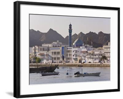 View Along the Corniche, Latticed Houses and Mutrah Mosque, Mutrah, Muscat, Oman, Middle East-Gavin Hellier-Framed Photographic Print