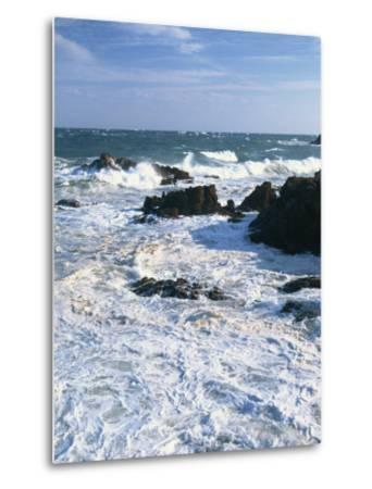 Waves Breaking on the Rocks Along the Corniche D'Esterel, Alpes-Maritimes, Provence, France-David Hughes-Metal Print