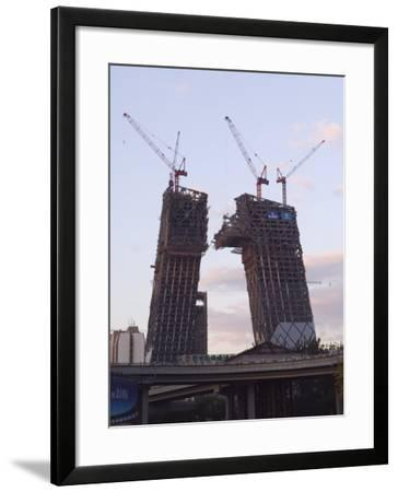 Partly Contructed Shell of the New Cctv Tower Building Guomao Area, Beijing, China-Kober Christian-Framed Photographic Print