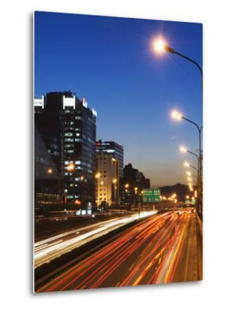 Car Light Trails and Modern Architecture on a City Ring Road, Beijing, China-Kober Christian-Metal Print