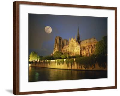 Notre Dame Cathedral at Night, with Moon Rising Above, Paris, France, Europe-Howell Michael-Framed Photographic Print