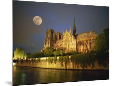 Notre Dame Cathedral at Night, with Moon Rising Above, Paris, France, Europe-Howell Michael-Mounted Photographic Print