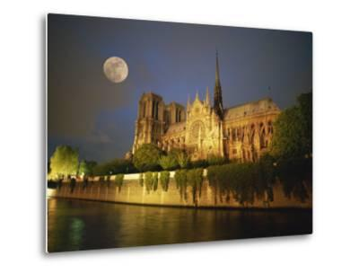 Notre Dame Cathedral at Night, with Moon Rising Above, Paris, France, Europe-Howell Michael-Metal Print