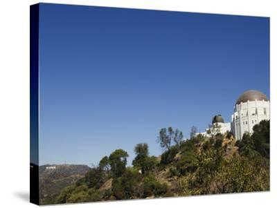 Griffiths Observatory and Hollywood Sign in Distance, Los Angeles, California, USA-Kober Christian-Stretched Canvas Print