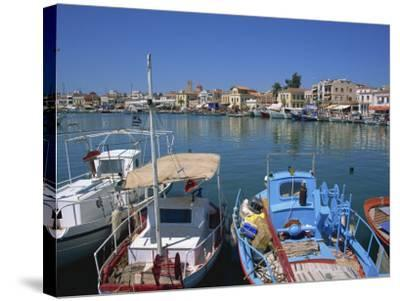 Fishing Boats Moored in Harbour, Aegina Town, Aegina, Saronic Islands, Greek Islands, Greece-Lightfoot Jeremy-Stretched Canvas Print