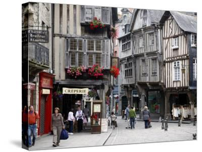 Half Timbered Houses in the Old Town of Dinan, Brittany, France, Europe-Levy Yadid-Stretched Canvas Print