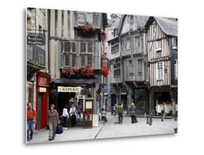 Half Timbered Houses in the Old Town of Dinan, Brittany, France, Europe-Levy Yadid-Metal Print
