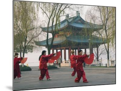 Women Practising Tai Chi in Front of a Pavilion on West Lake, Hangzhou, Zhejiang Province, China-Kober Christian-Mounted Photographic Print