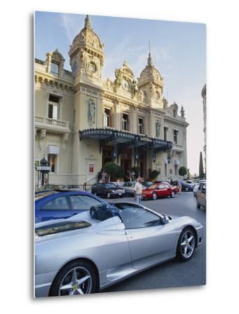 Casino and Ferrari, Monte Carlo, Monaco, Europe-Miller John-Metal Print