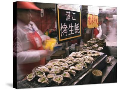 Street Market Selling Oysters in Wanfujing Shopping Street, Beijing, China-Kober Christian-Stretched Canvas Print