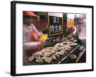 Street Market Selling Oysters in Wanfujing Shopping Street, Beijing, China-Kober Christian-Framed Photographic Print