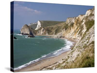 St. Oswald's Bay Beach and Cliffs, Dorset, England, United Kingdom, Europe-Rainford Roy-Stretched Canvas Print