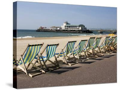Bournemouth East Beach, Deck Chairs and Pier, Dorset, England, United Kingdom, Europe-Rainford Roy-Stretched Canvas Print
