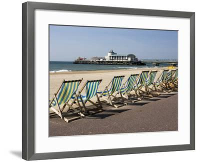 Bournemouth East Beach, Deck Chairs and Pier, Dorset, England, United Kingdom, Europe-Rainford Roy-Framed Photographic Print