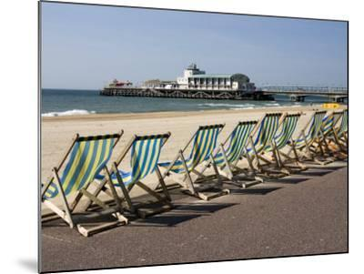 Bournemouth East Beach, Deck Chairs and Pier, Dorset, England, United Kingdom, Europe-Rainford Roy-Mounted Photographic Print