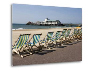 Bournemouth East Beach, Deck Chairs and Pier, Dorset, England, United Kingdom, Europe-Rainford Roy-Metal Print