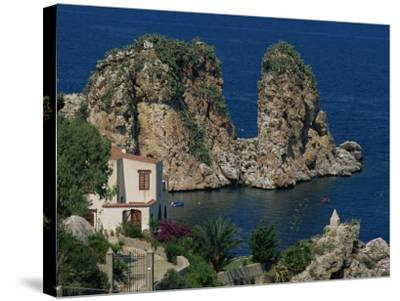Rocks Towering in Golfo Di Castellammare, Slopello, Sicily, Italy, Europe-Pottage Julian-Stretched Canvas Print