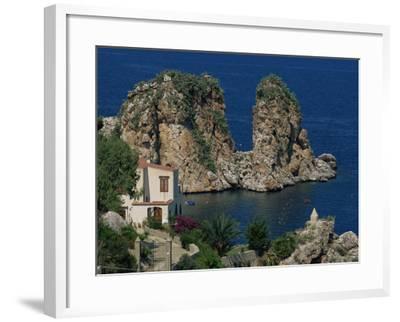 Rocks Towering in Golfo Di Castellammare, Slopello, Sicily, Italy, Europe-Pottage Julian-Framed Photographic Print