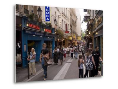 Rue De La Huchette, Quartier Latin, Paris, France, Europe-Pitamitz Sergio-Metal Print