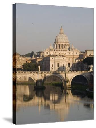 St. Peters Dome and the Tiber River, Rome, Lazio, Italy, Europe-Olivieri Oliviero-Stretched Canvas Print