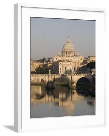 St. Peters Dome and the Tiber River, Rome, Lazio, Italy, Europe-Olivieri Oliviero-Framed Photographic Print