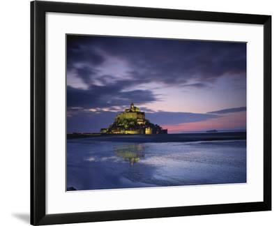 Mont St. Michel, Illuminated at Dusk, La Manche Region, Basse-Normandie, France-Rainford Roy-Framed Photographic Print