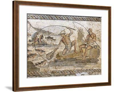 Roman Mosaic Dating from the 2 AD, from the Villa of the Nile at Leptis Magna, Tripoli, Libya-Rennie Christopher-Framed Photographic Print