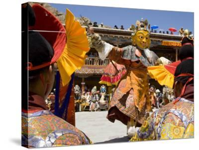 Monk in Wooden Mask in Traditional Costume, Hemis Festival, Hemis, Ladakh, India-Simanor Eitan-Stretched Canvas Print