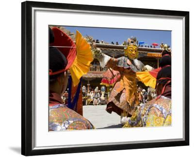 Monk in Wooden Mask in Traditional Costume, Hemis Festival, Hemis, Ladakh, India-Simanor Eitan-Framed Photographic Print