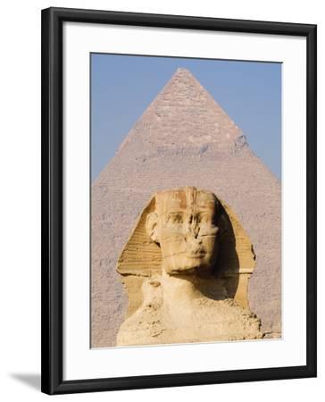Sphynx and the Pyramid of Khafre, Giza, Near Cairo, Egypt-Schlenker Jochen-Framed Photographic Print