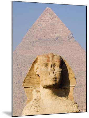 Sphynx and the Pyramid of Khafre, Giza, Near Cairo, Egypt-Schlenker Jochen-Mounted Photographic Print