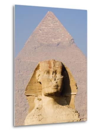 Sphynx and the Pyramid of Khafre, Giza, Near Cairo, Egypt-Schlenker Jochen-Metal Print