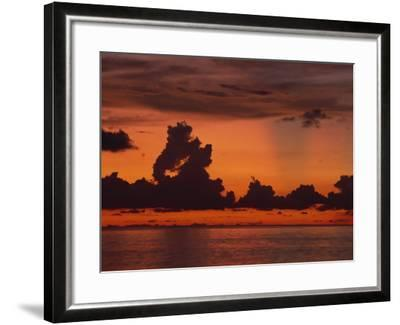 Tropical Sunset Off Seven Mile Beach, Cayman Islands, West Indies, Central America-Tomlinson Ruth-Framed Photographic Print