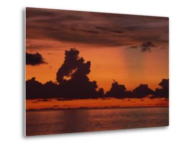 Tropical Sunset Off Seven Mile Beach, Cayman Islands, West Indies, Central America-Tomlinson Ruth-Metal Print