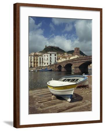 Boats Beside a Bridge over the Temo River at Bosa on the Island of Sardinia, Italy, Europe-Terry Sheila-Framed Photographic Print