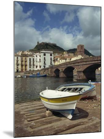 Boats Beside a Bridge over the Temo River at Bosa on the Island of Sardinia, Italy, Europe-Terry Sheila-Mounted Photographic Print