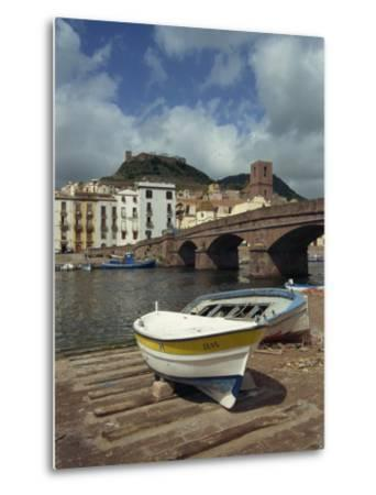 Boats Beside a Bridge over the Temo River at Bosa on the Island of Sardinia, Italy, Europe-Terry Sheila-Metal Print