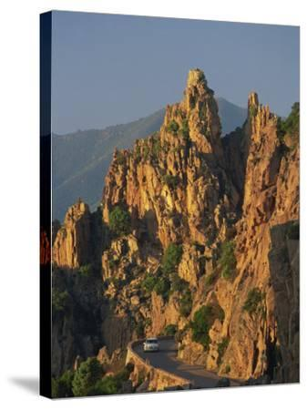 Calanche, White Granite Rocks, with Car on Road Below, Near Piana, Corsica, France, Europe-Tomlinson Ruth-Stretched Canvas Print